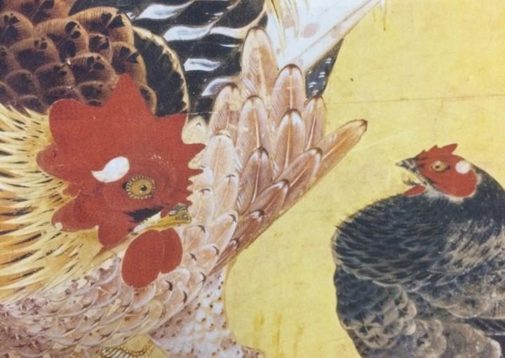 仙人掌群鶏図の一部